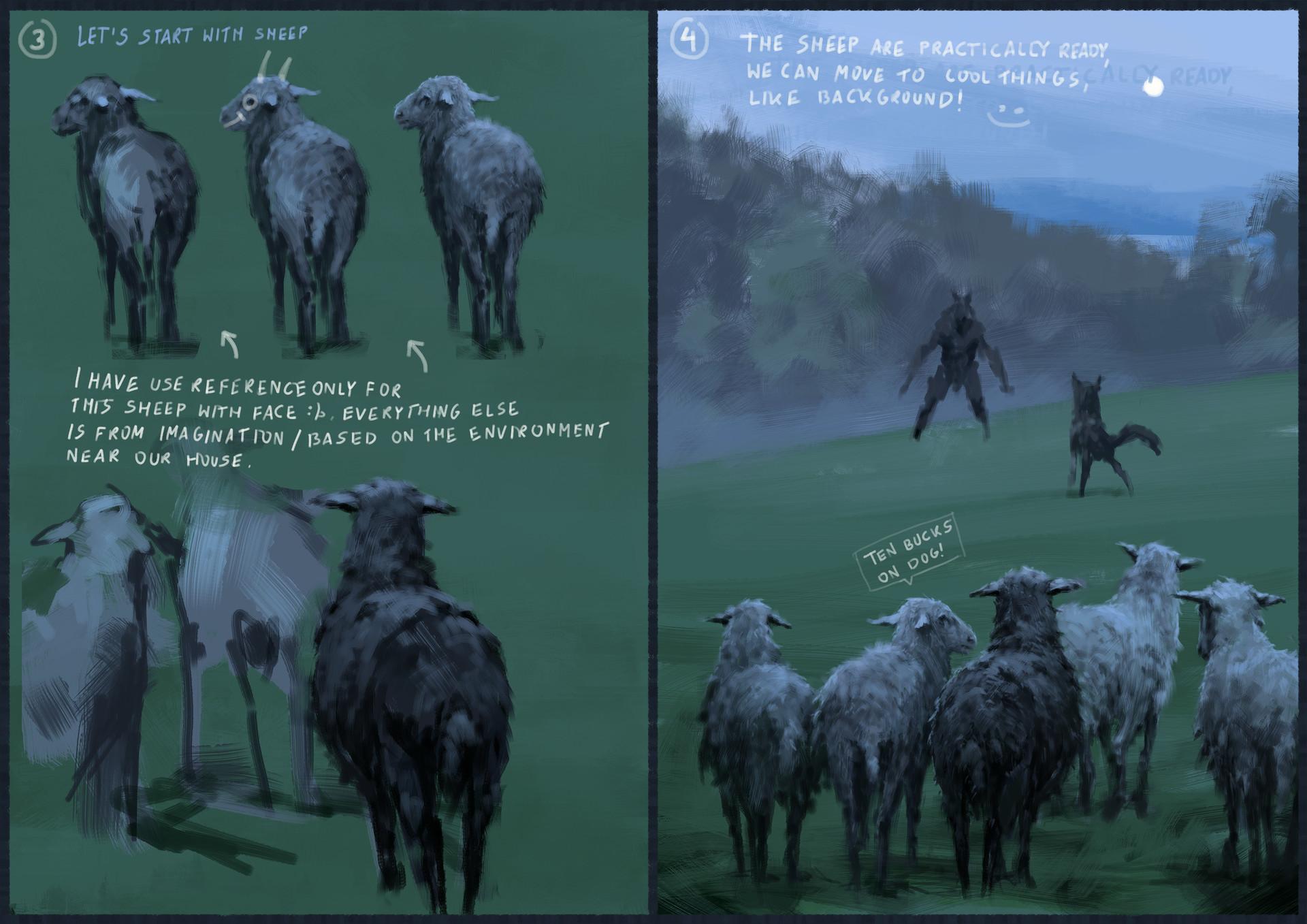 Jakub rozalski wilk syty owca cala process02