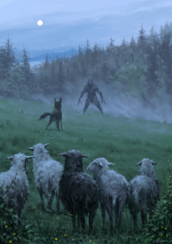 Jakub rozalski wilk syty owca calas