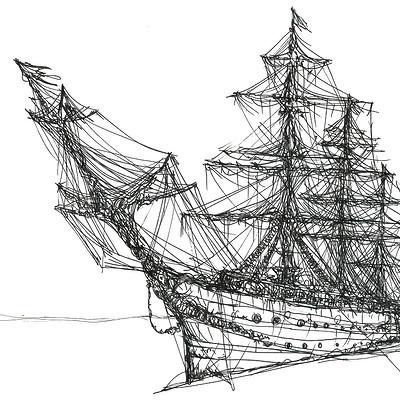 Gabriele crow pirate ship because by yade art d68qsgg