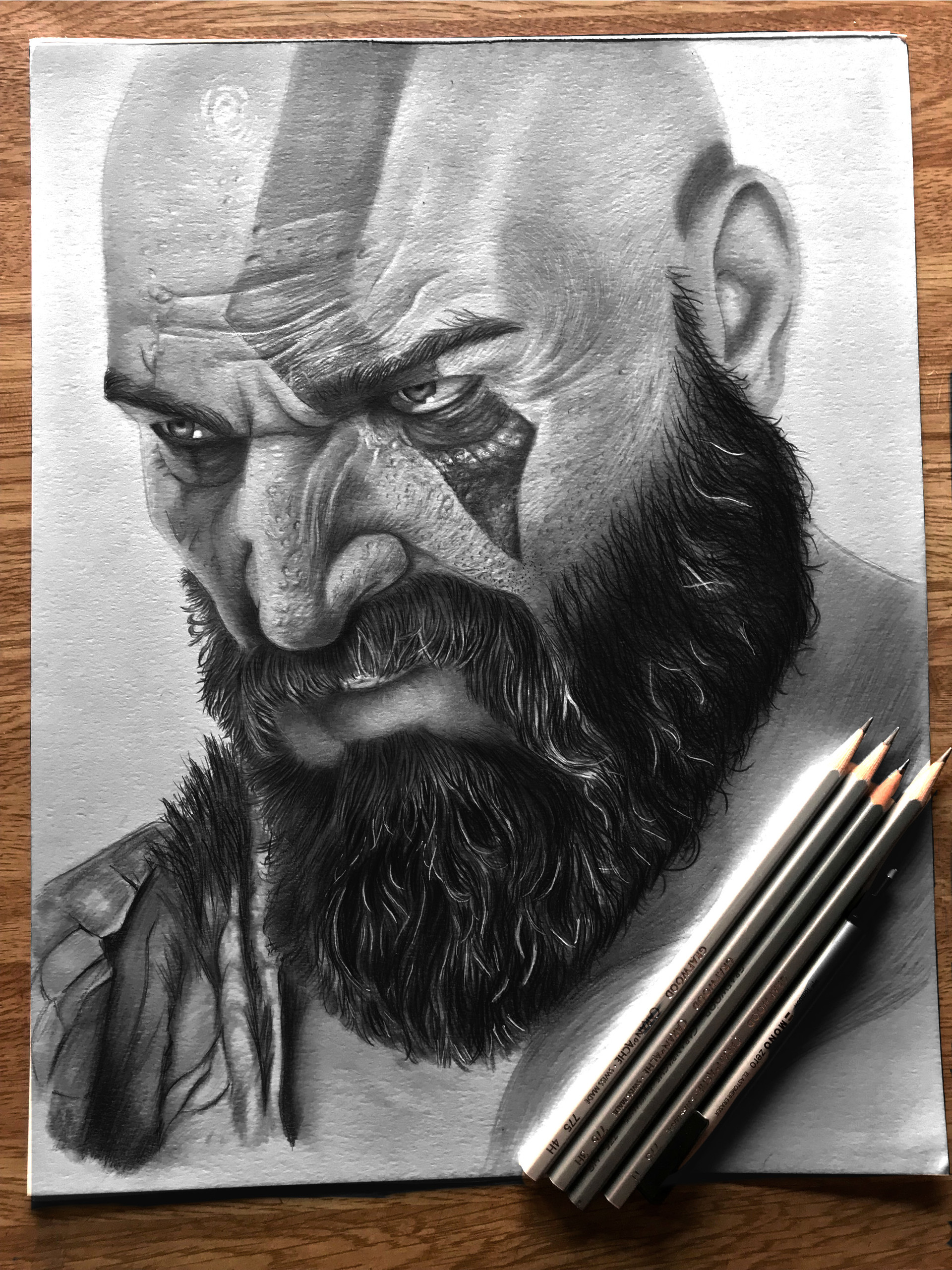 Pencil art of kratos from the game god of war