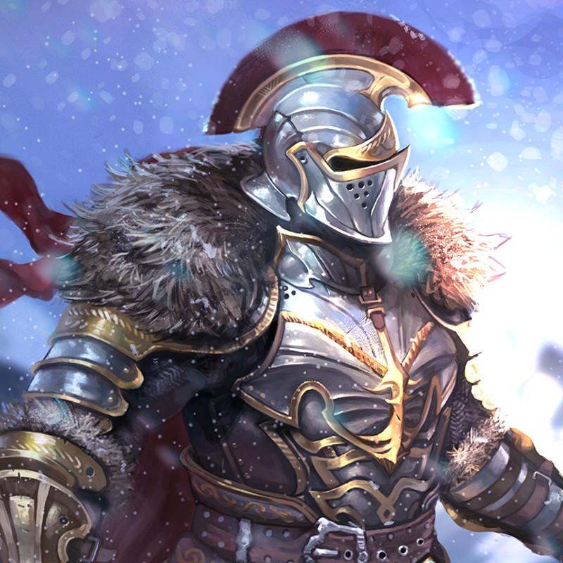 Warrior on snowed mountain