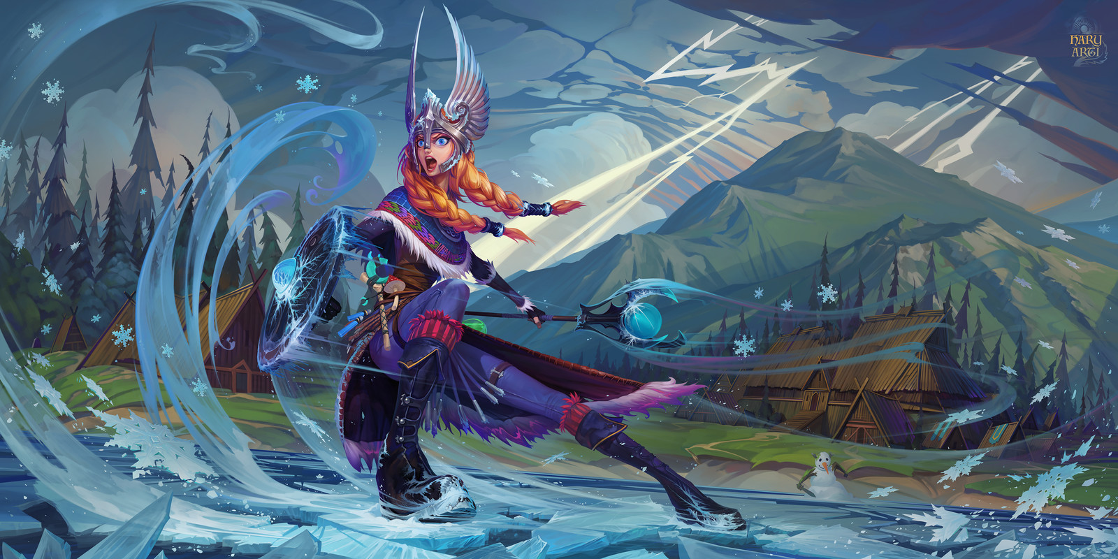"Crystal Maiden ""Valkyrie"" set. Dota 2 fan art."