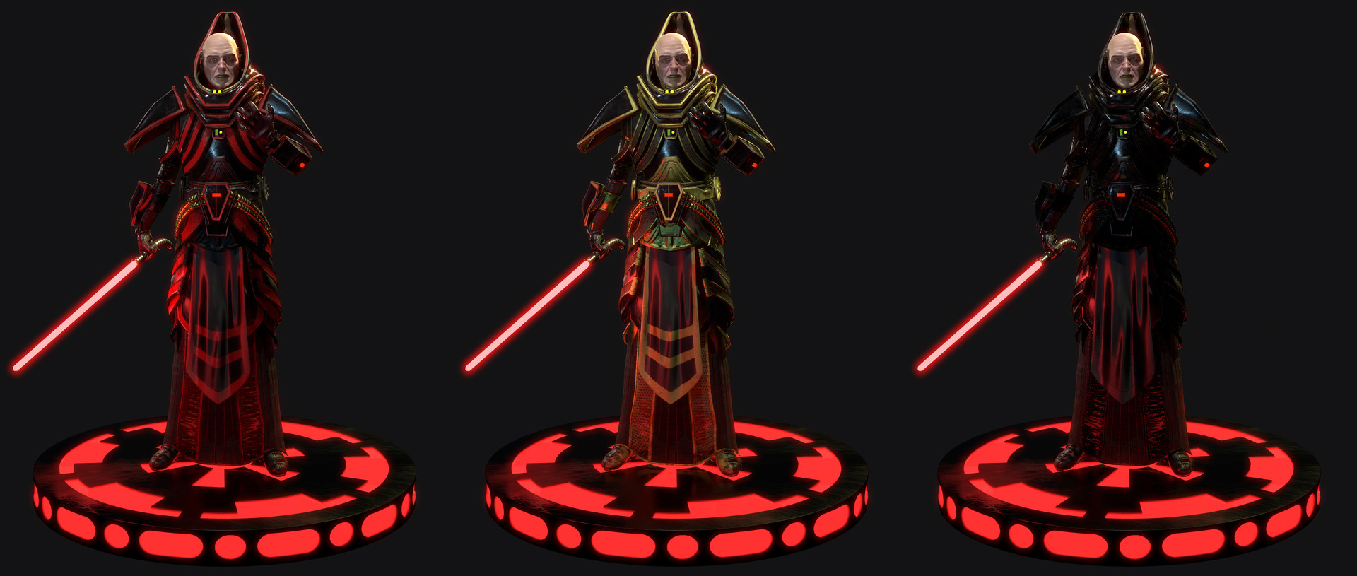 The armor was about 95% textured in Substance Designer, and the rest was handpainted in Subs Painter. The parameters in SD were exposed to allow an easy creation of a wide variety of armor skins.