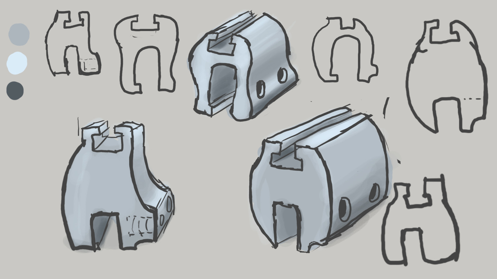 Initial Sketches.  Any design or project begins with as many rough sketches as possible. I was trying to remove material but maintain the part's integrity by using longer sweeping curves and radii as opposed to the original sharp corners.