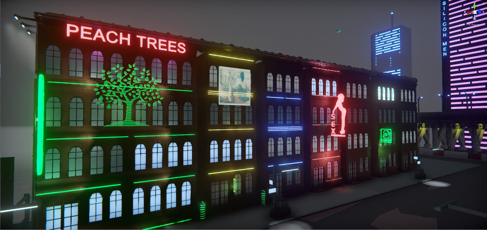 Adding more details: billboard, lights, etc