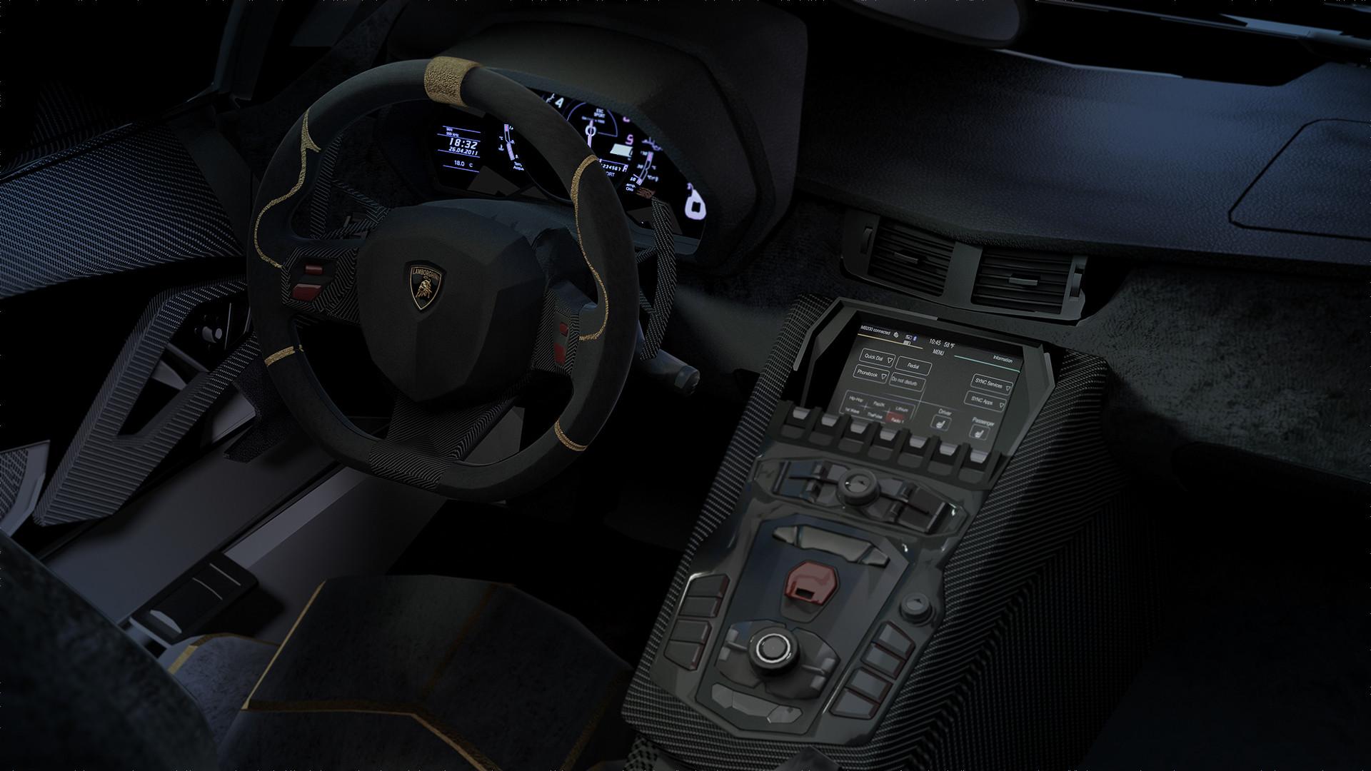 Artstation Lamborghini Aventador Superveloce Roadster Interior Sandip Gediya
