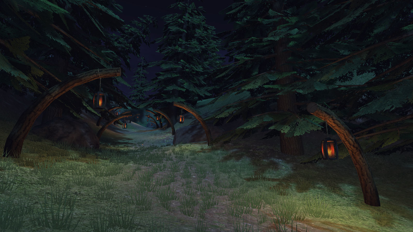 An old Unity screenshot of a darker, more whimsical environment