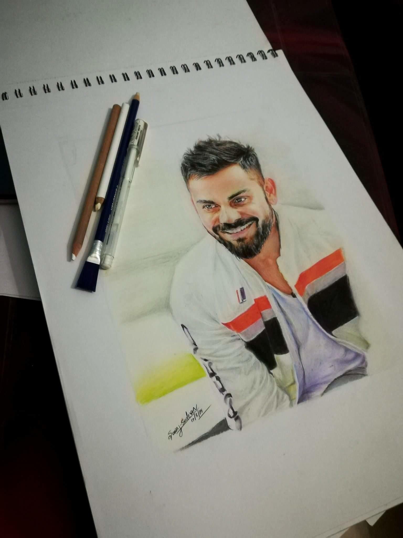 Colour pencil drawing virat kohli