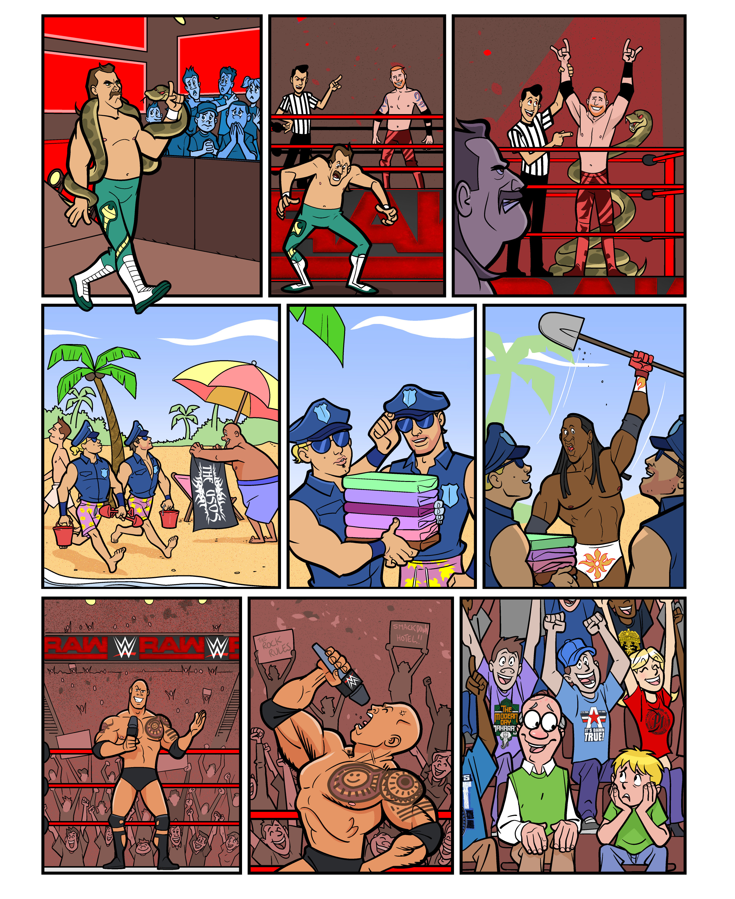 WWE Legends comic strips for WWE Kids Magazine #126
