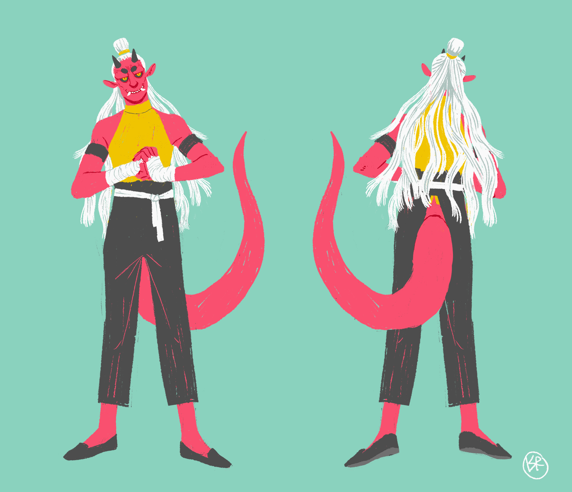 Design of my Tiefling monk, Amon.