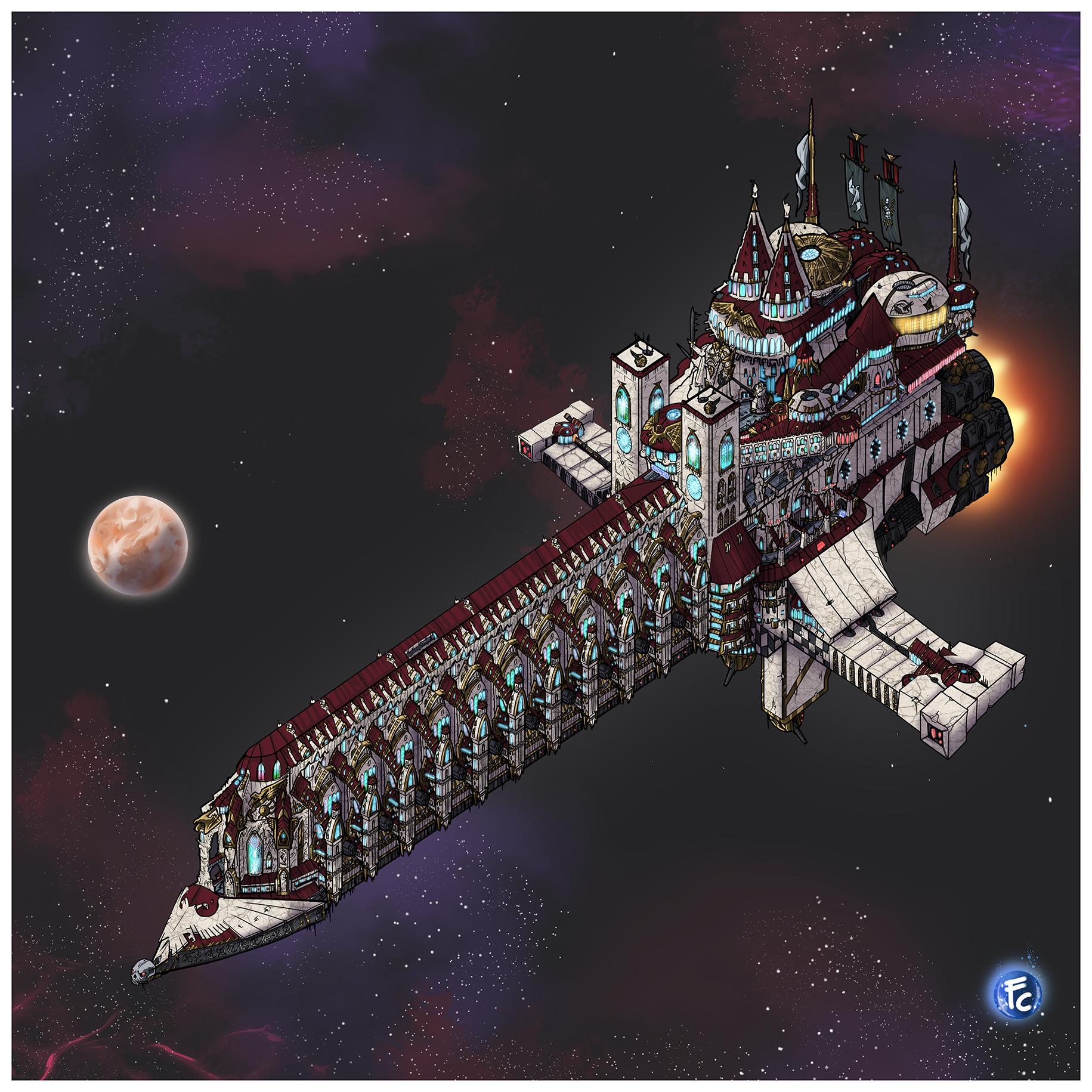 Warhammer 40k Void Ship  Ex Cathedra