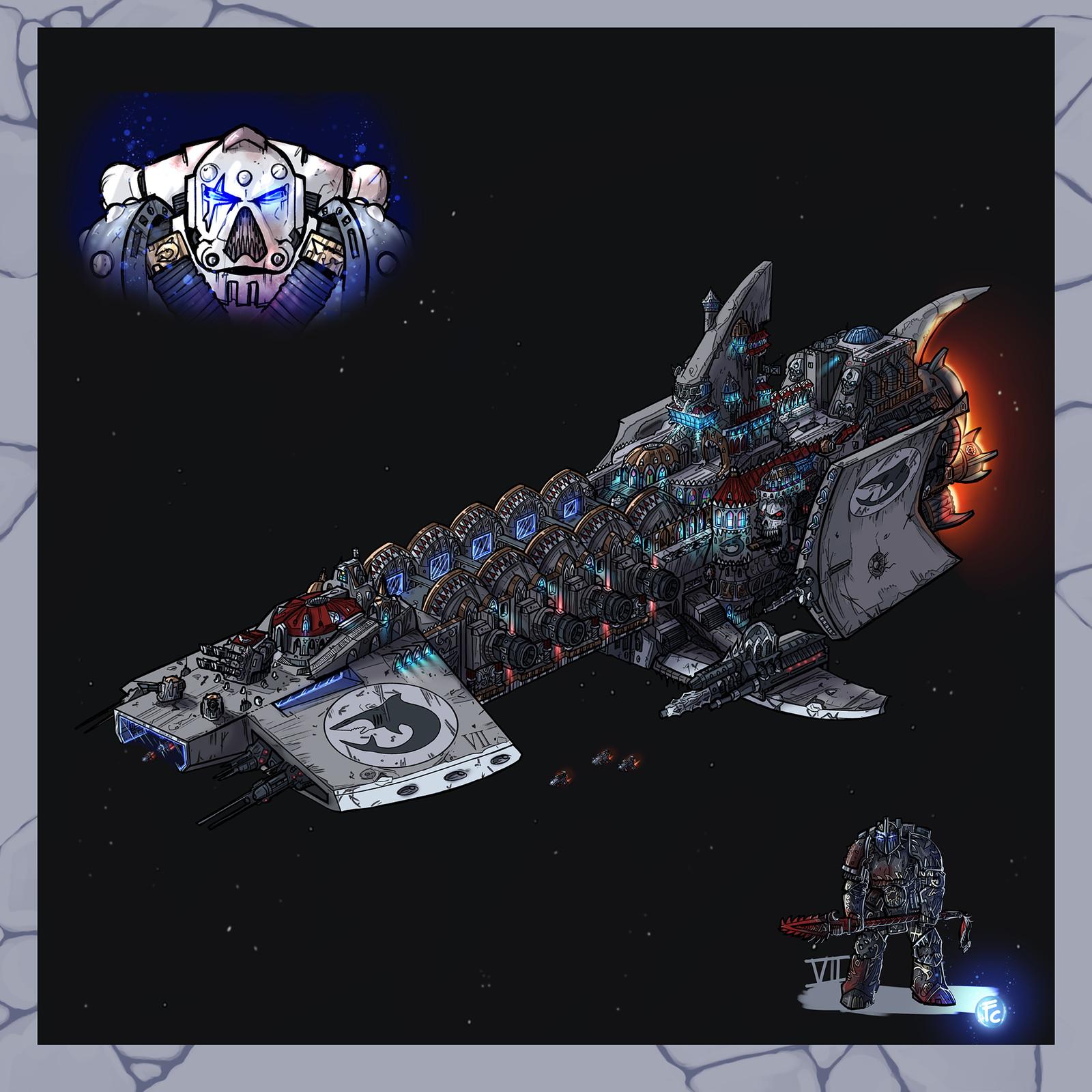 Warhammer 40k Void Ship Carcharodons Astra Strike Cruiser