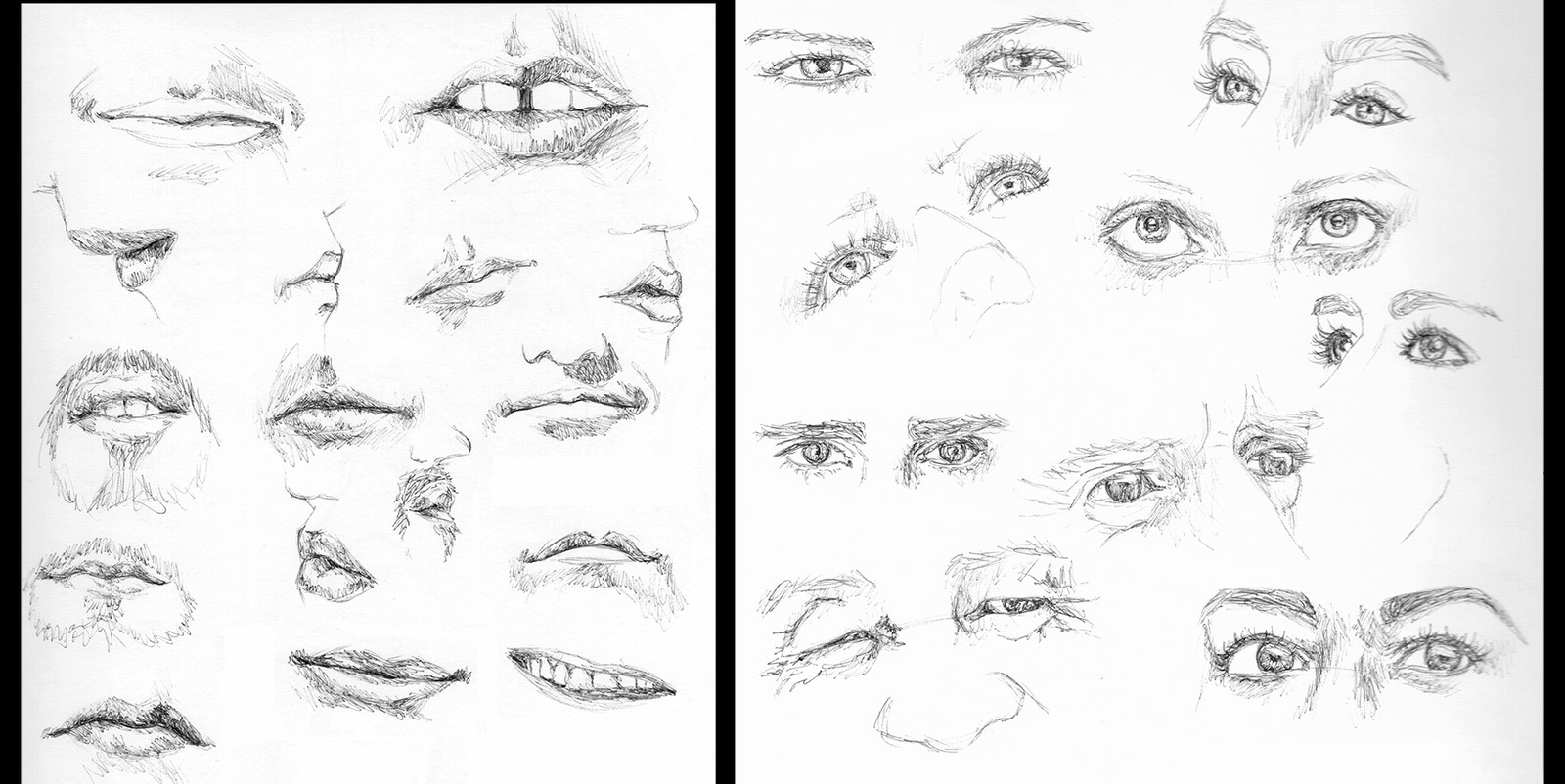 Anatomy practice - Mouths and Eyes