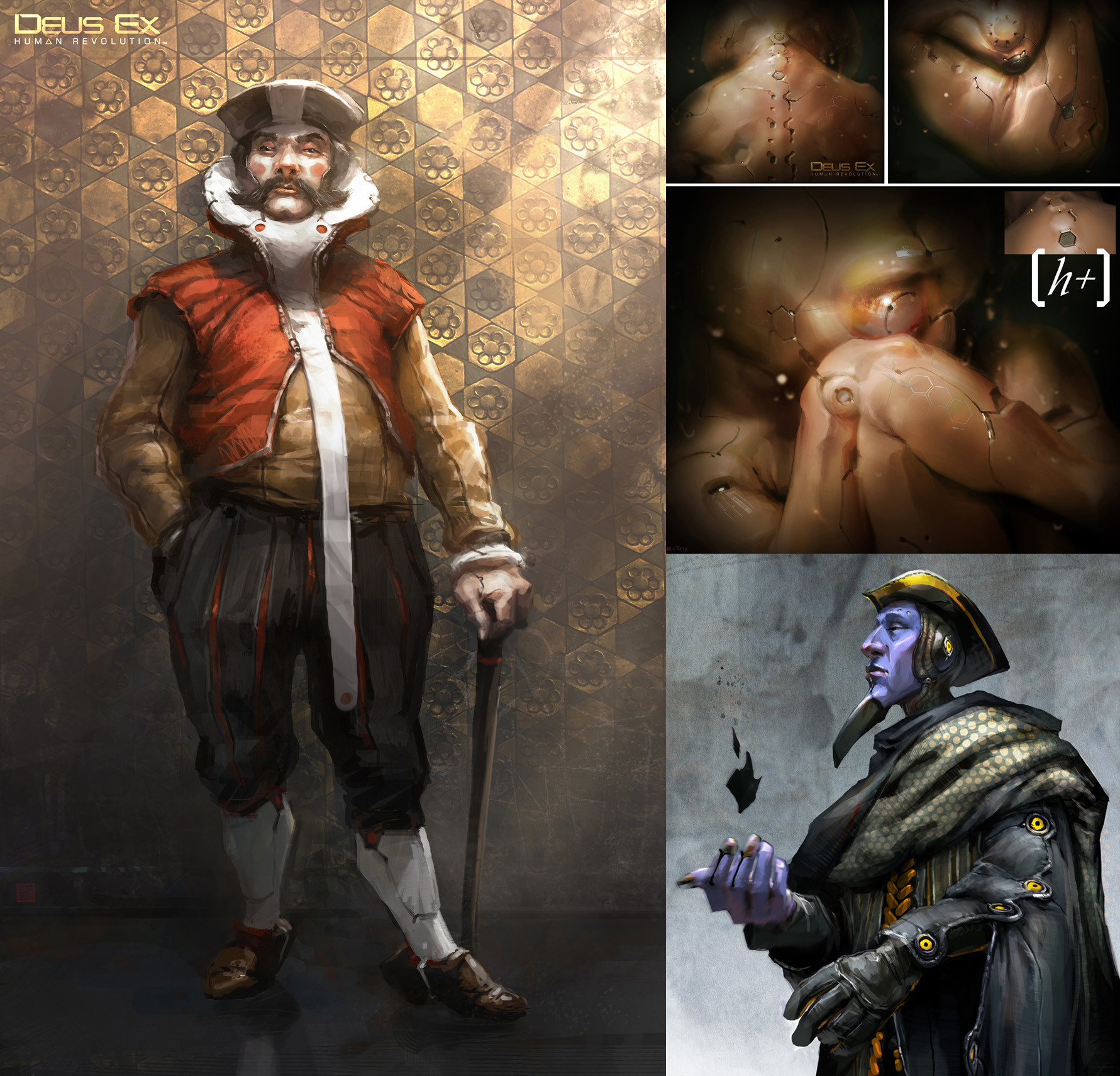 Early Neo-Renaissance  explorations and the cyber-foetus made for the 1st teaser of the game . The conception phase was very interesting for it was completely open to any ideas!