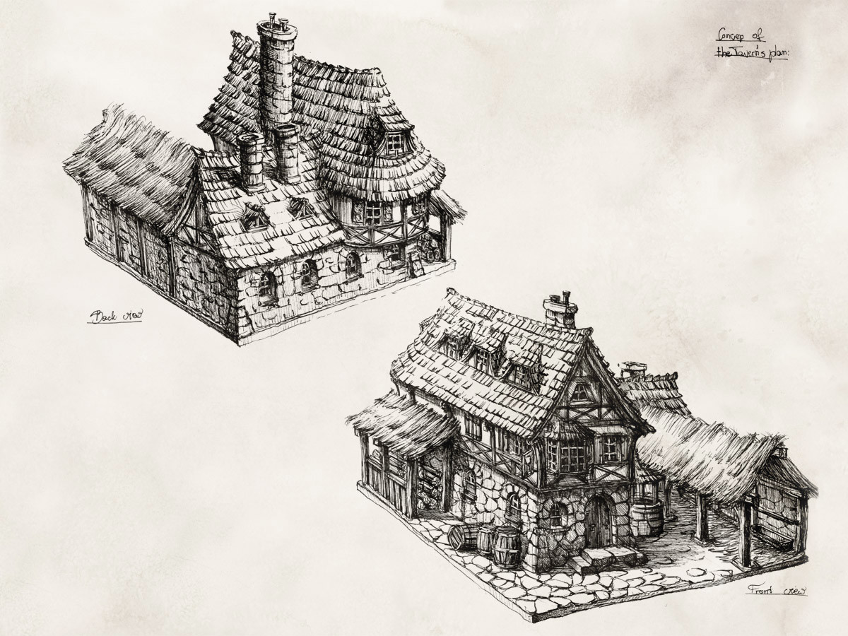 Perspective views of a tavern