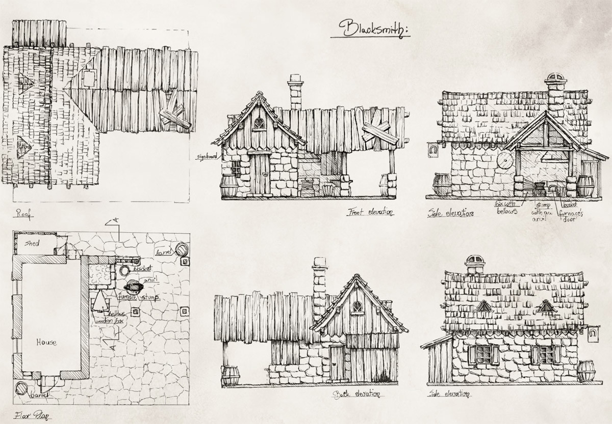 Elevations and top viewss of a blacksmith