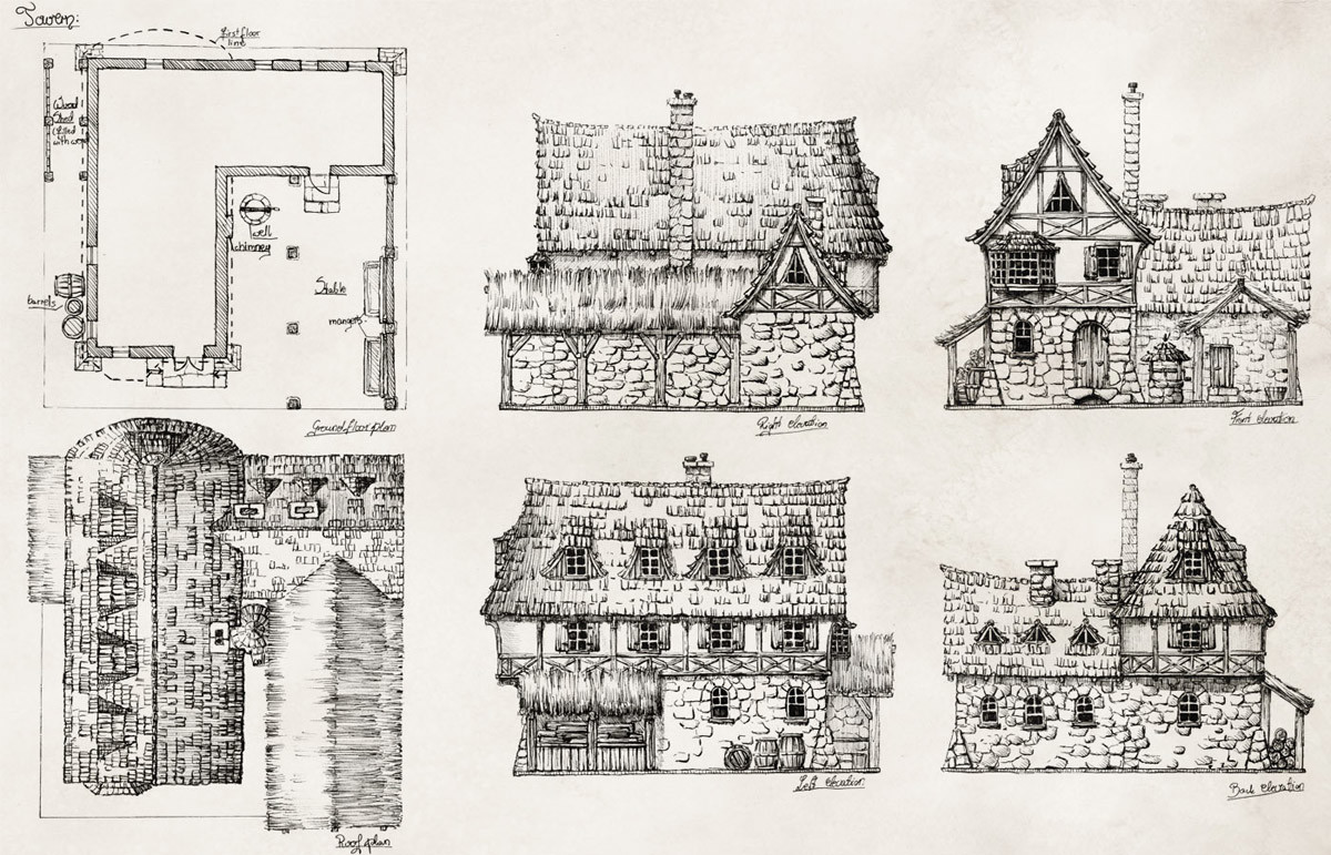 Elevations and top views of a tavern