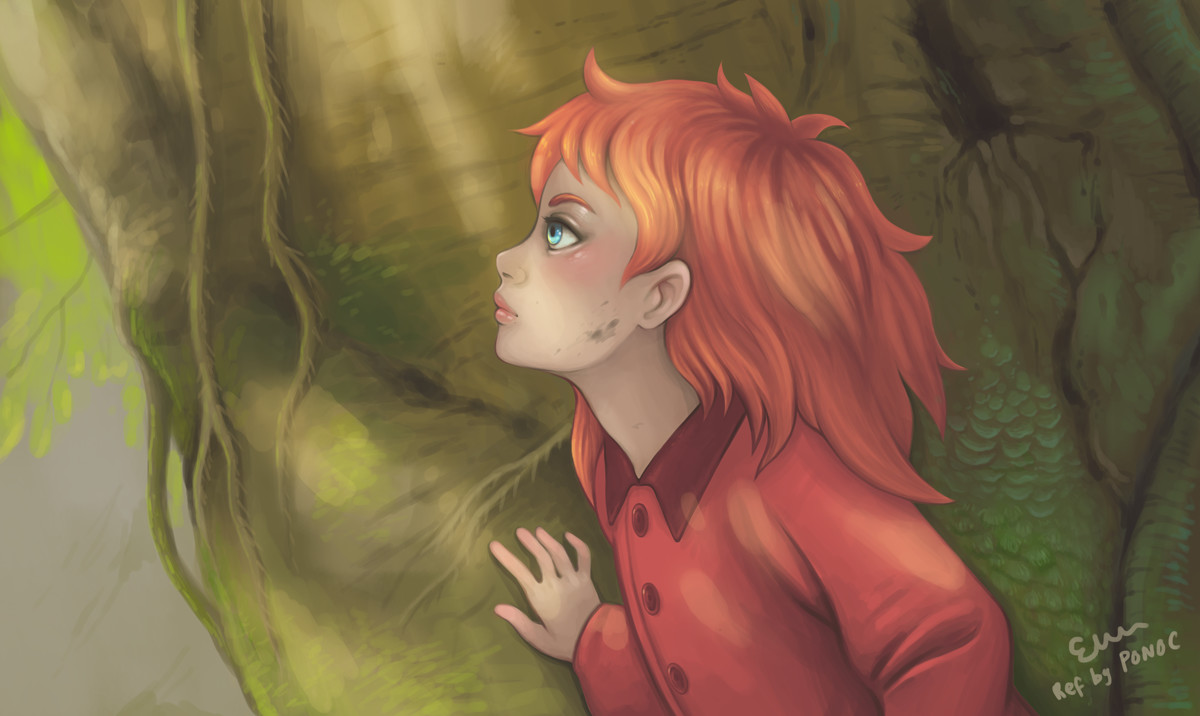Quick painting from film still ref (Mary and the Witch's Flower by Studio Ponoc) for a bit of colour, composition, etc. practice.