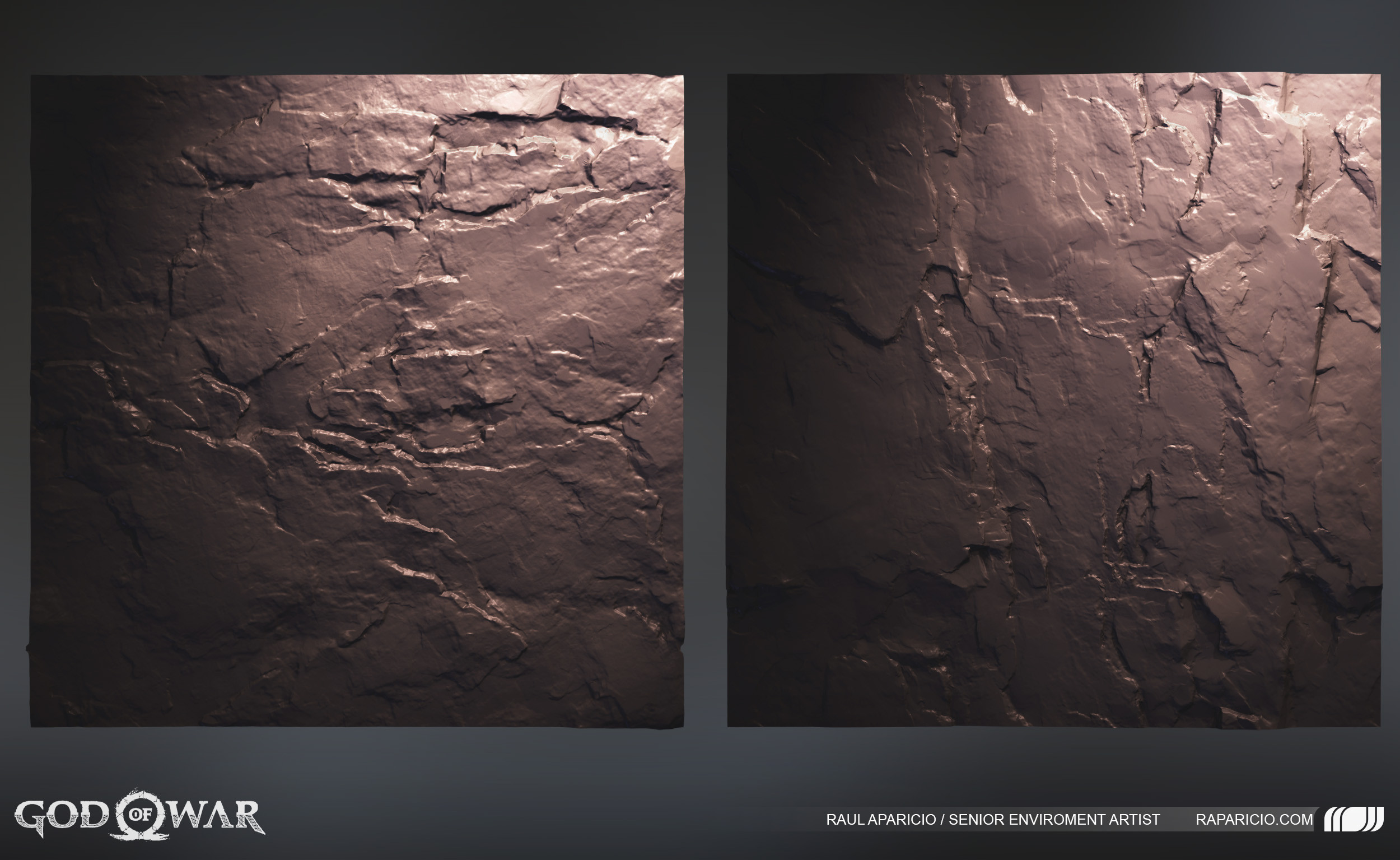 Hand sculpted zbrush tiling textures. Using a combination of alphas created by hand and using a little bit of photogrametry and photos.