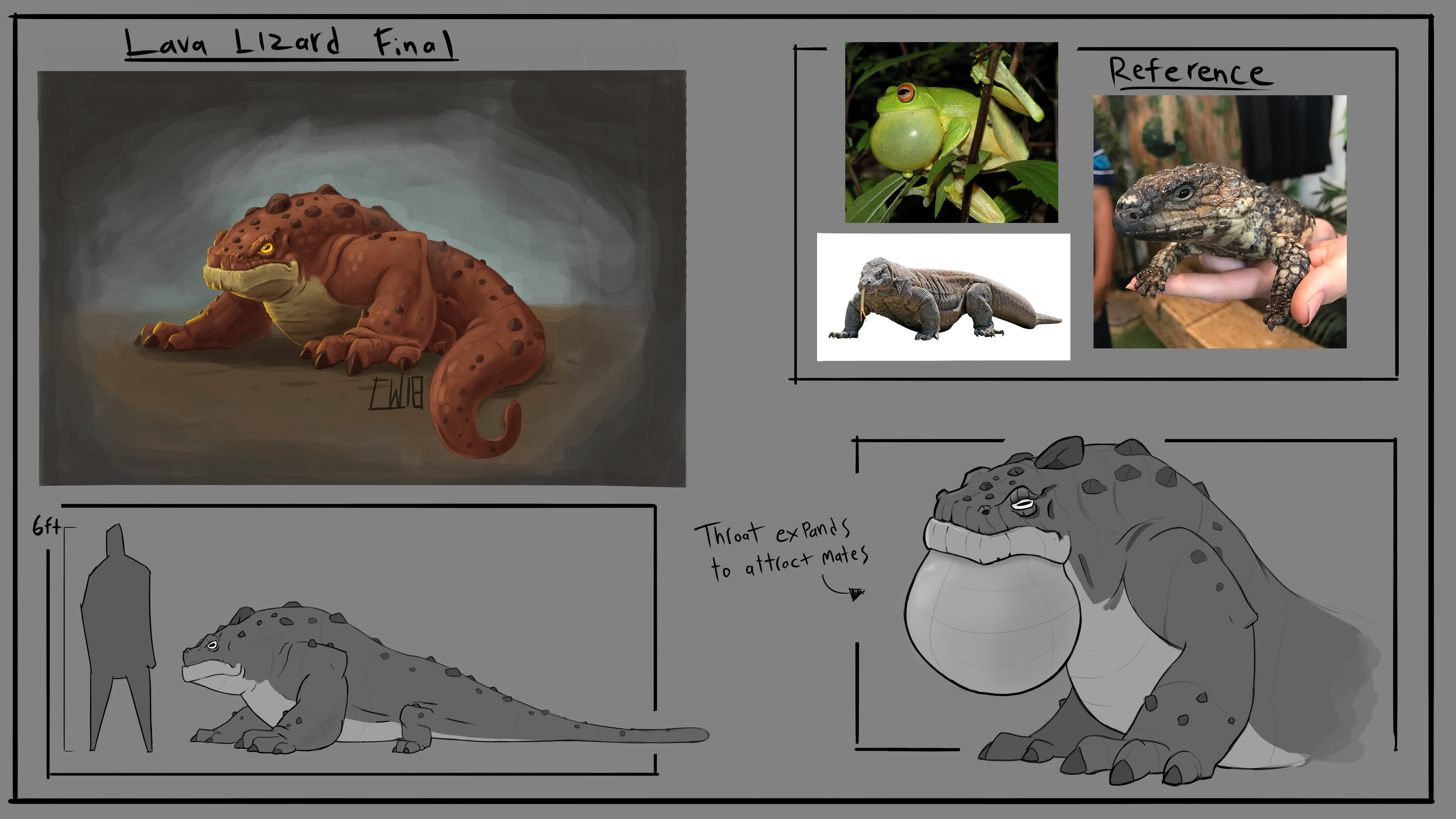Here is the final along with some reference i used for the final design. I liked the idea of the rocky spikes from the variations and chose the colors that best fitted a creature living near lava.
