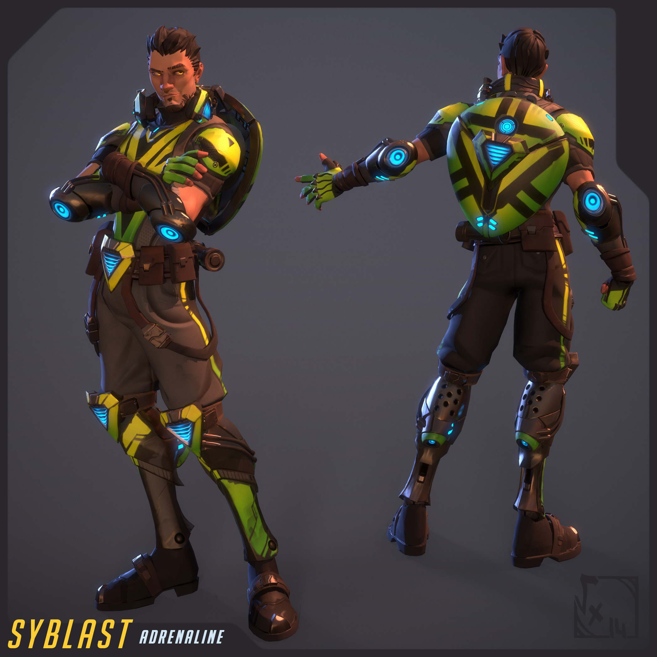Syblast - Adrenaline skin - fully textured with 3D-Coat and rigged/skinned on Akeytsu