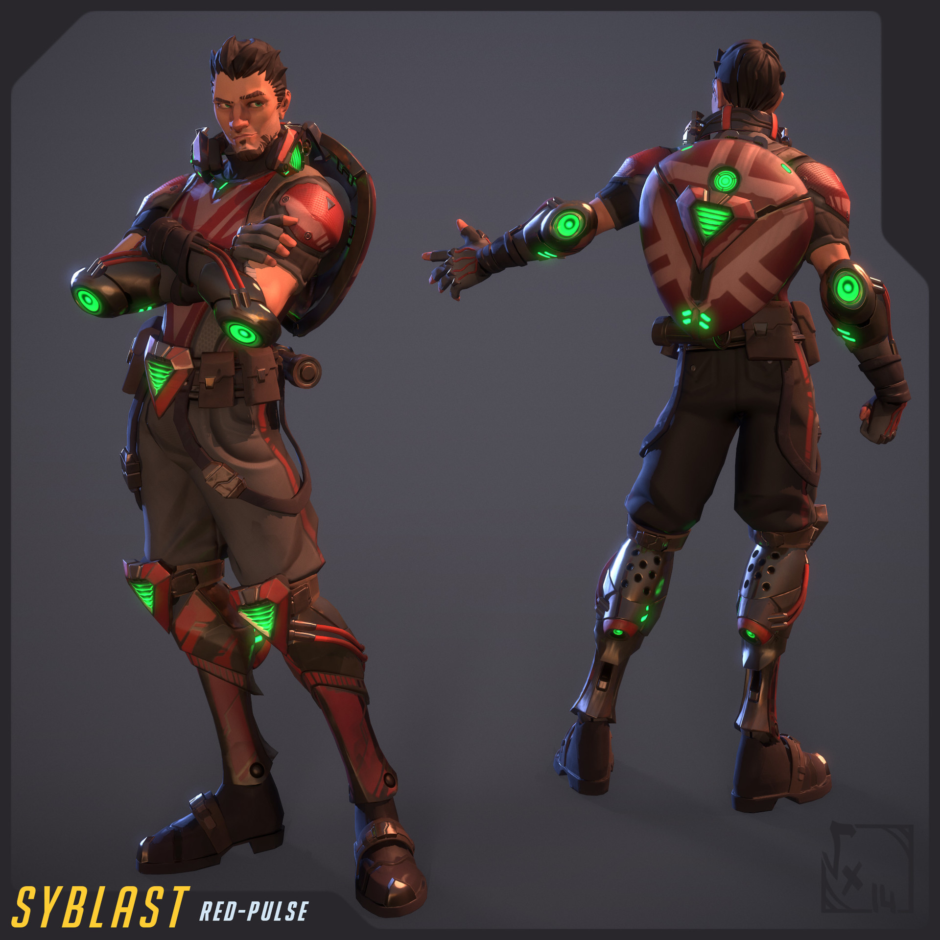 Syblast - Red-Pulse skin - fully textured with 3D-Coat and rigged/skinned on Akeytsu