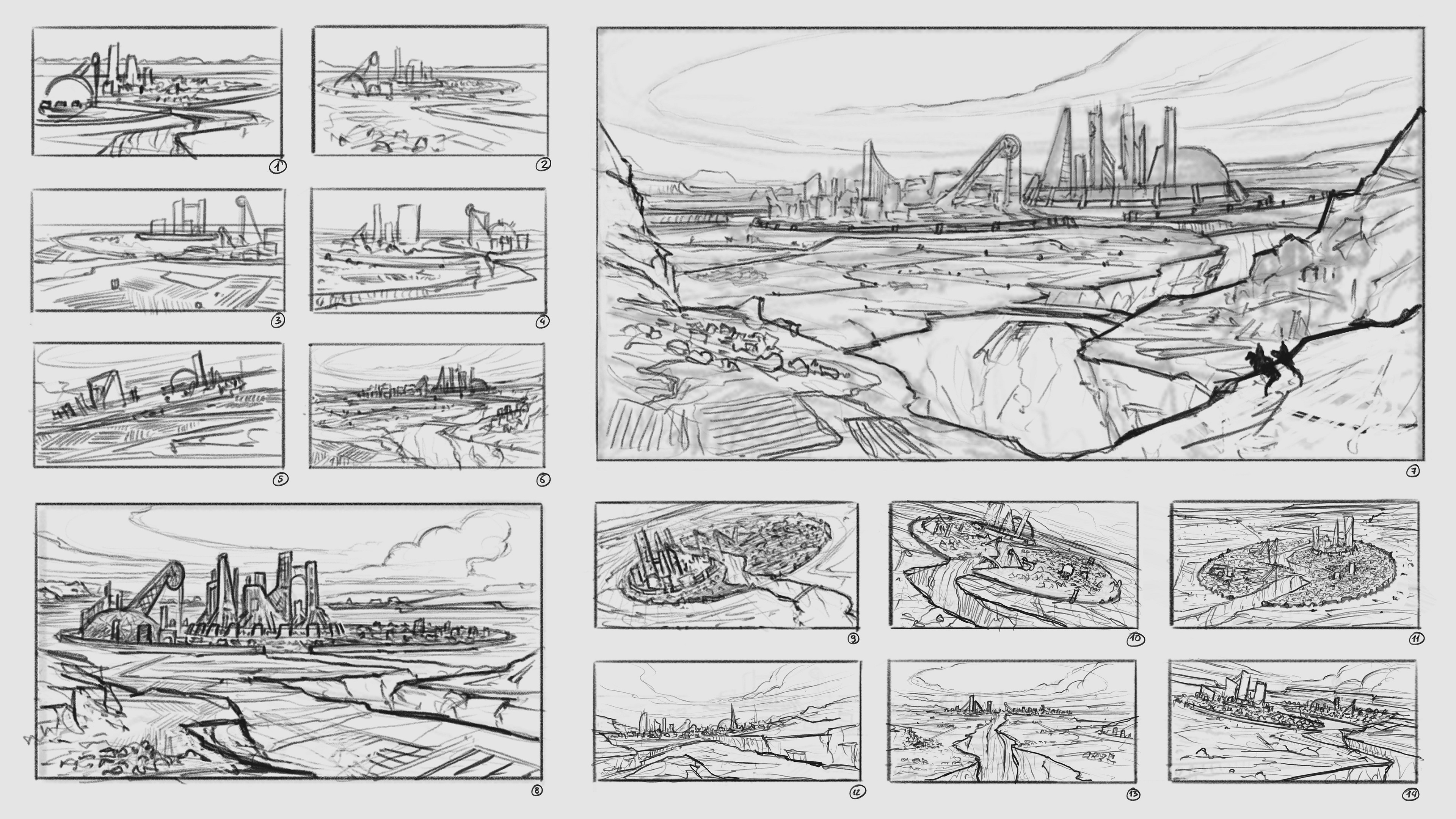 Thumbnail sketches and ideas for the city concept and camera