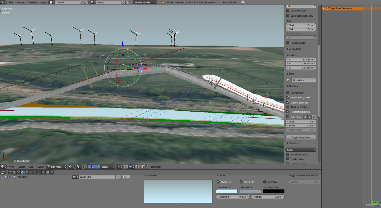 The main curve in Blender