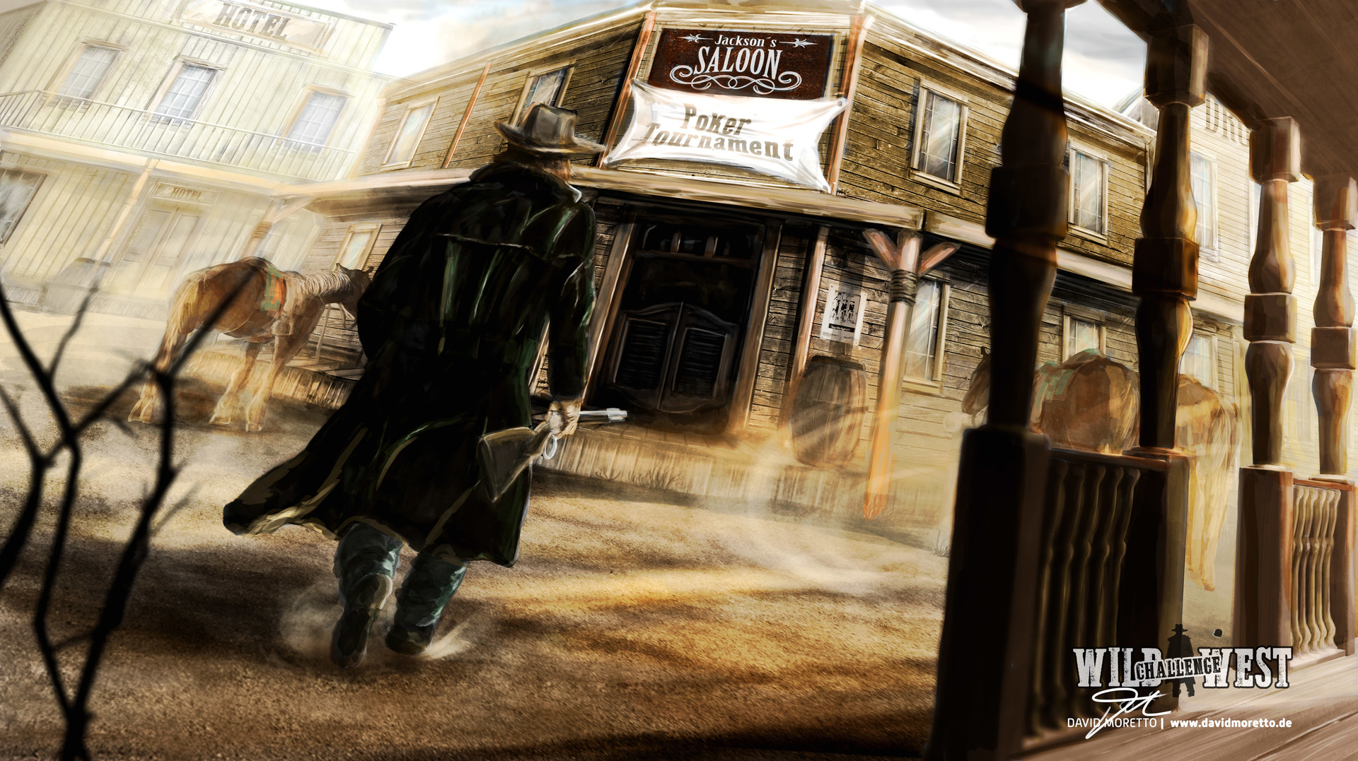 Final Wild West Keyframe Illustration THE LATE REVENGE! #2 / 4 Joe knew that the poker tournament was enviting for Jimmy. There he would encounter him. Today! Joe walked over to the saloon.