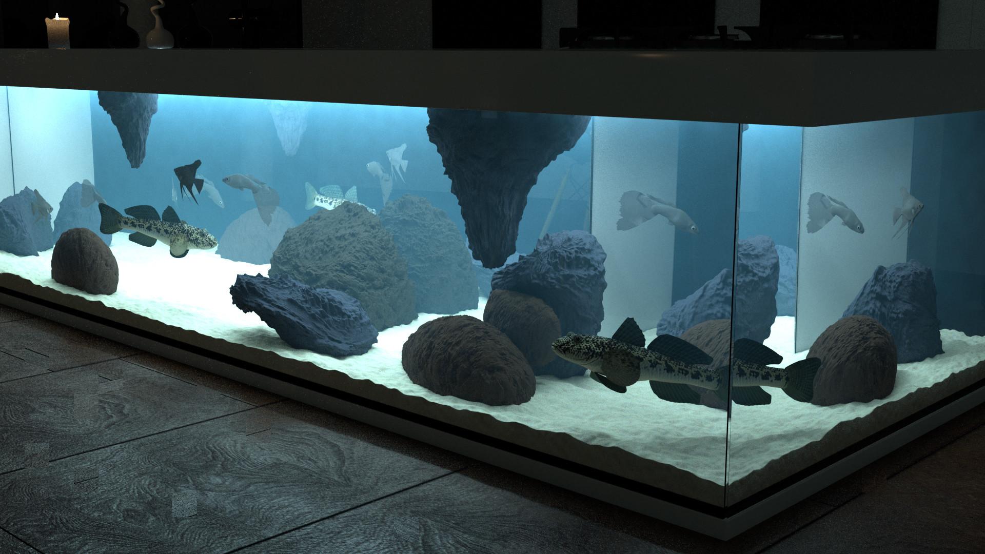 ArtStation - Day & Night Interior Aquarium Kitchen, Rasmus Jensen