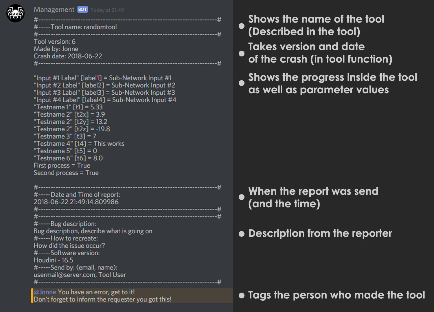 The tool sends a message to our discord tagging the person responsible for the tool and gives all information gathered.