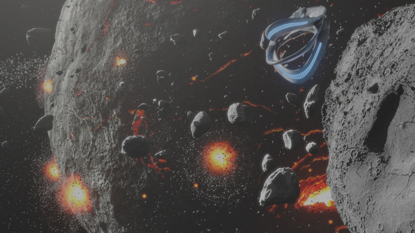 Orville: Opening Credits, Asteroid -  Lava Cracks painted in Photoshop; surface textured with Modo