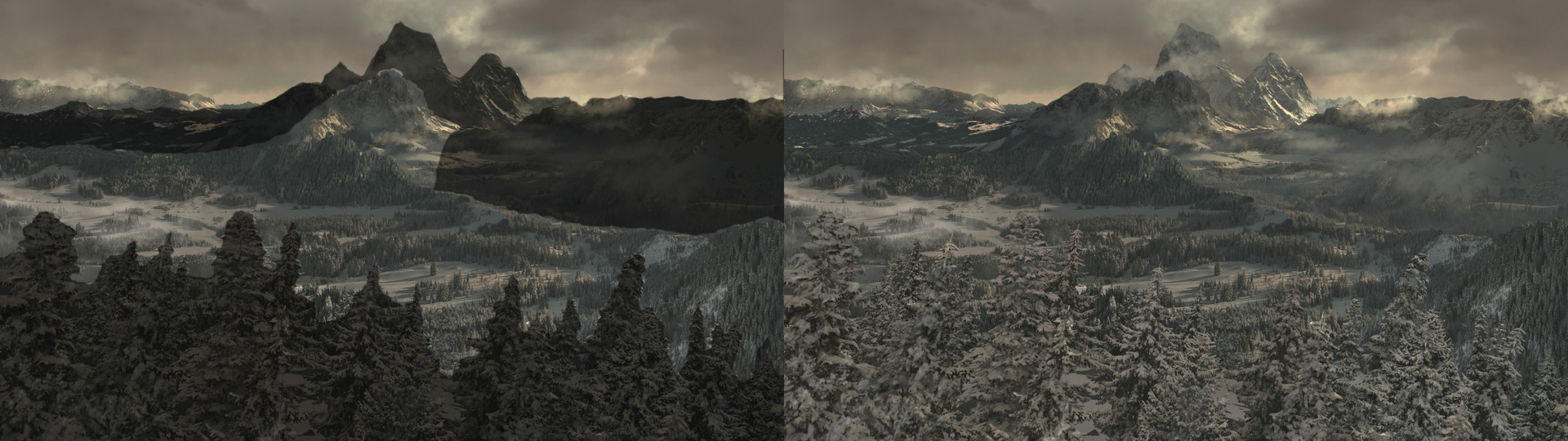 Marvel's Agents of Shield: Snowscape Photoshop and projections completed in Nuke on Areas indicated above