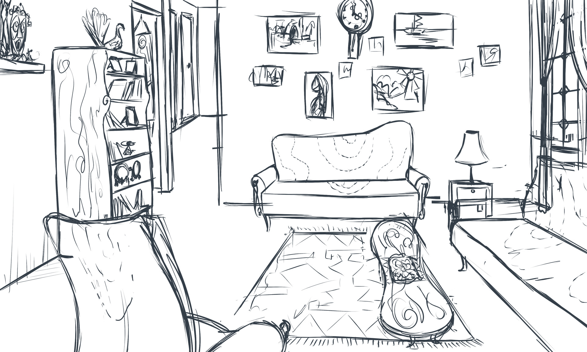 Meitar lavi living room sketch