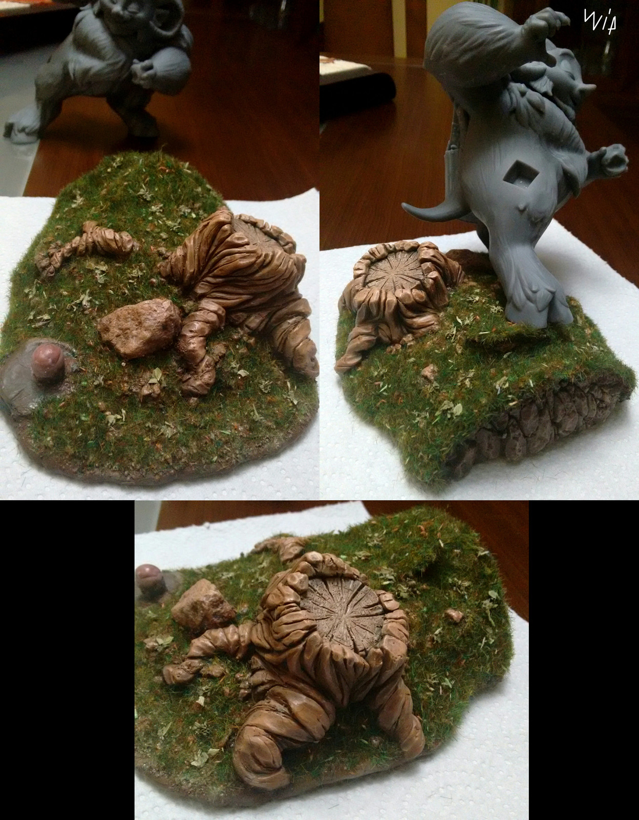 Adding some grass and leaves
