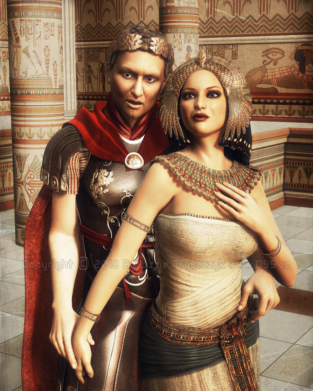Cleopatra looks ahead to a wondrous future as Caesar promises her the world. They both lust for more power.