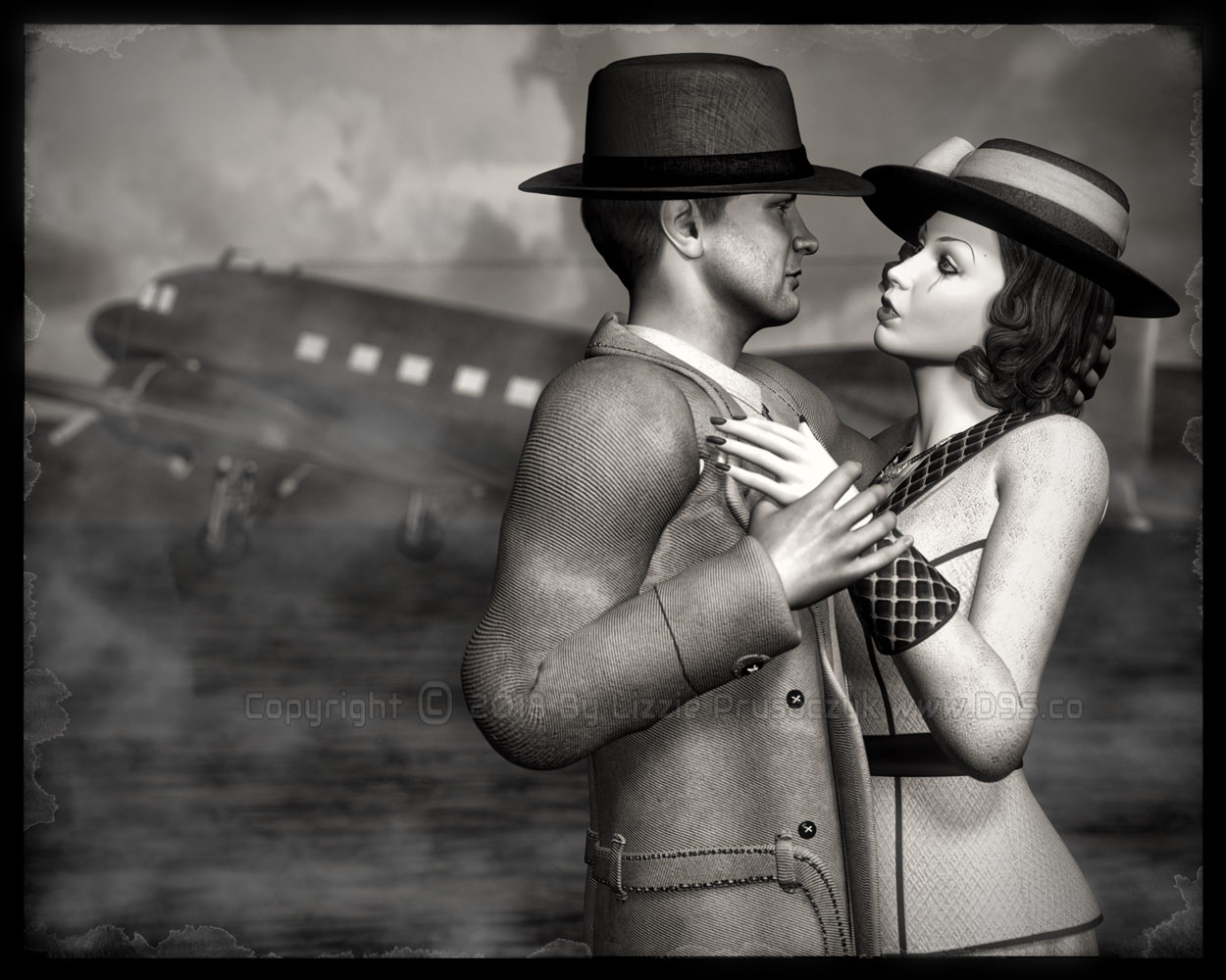 A film noir style artwork of a love-struck couple saying goodbye that was inspired by a classic movie.
