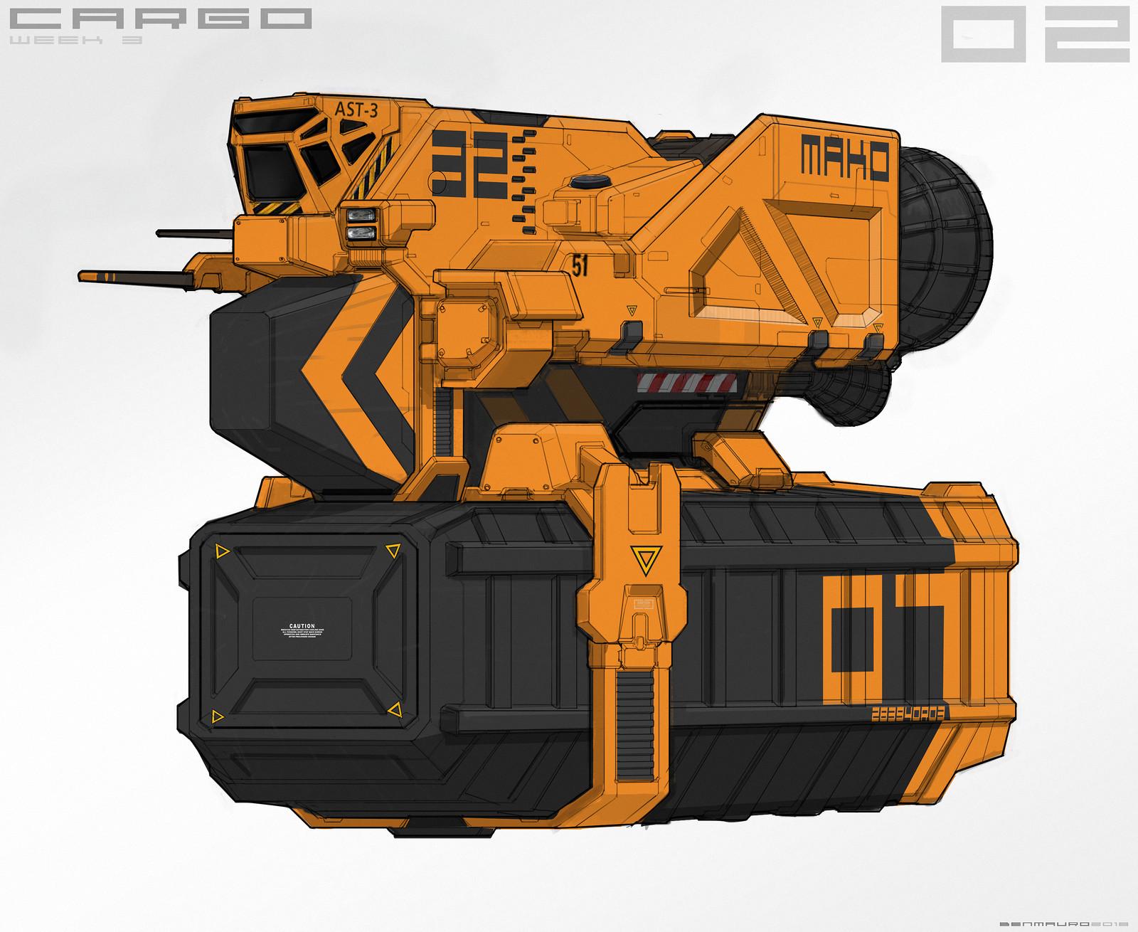 Cargo Spaceship Sketches + Studies