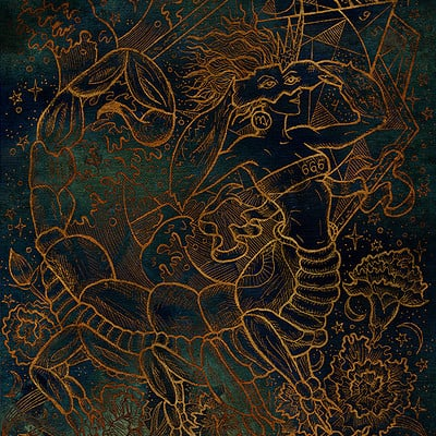 Vera petruk samiramay 08d zodiac sign scorpion on mystic blue texture background hand drawn fantasy graphic illustration in frame