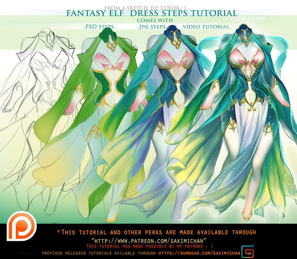 Sakimi chan fantasy elf dress step videos tutorial pack promo by sakimichan da4iuev