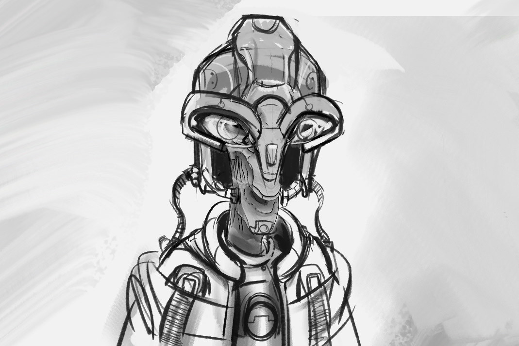 An quick rough sketch I did a while ago overtop of an existing character to come up with a funky looking space suit idea.  I wanted a dorky silly looking character nothing scary.  This was just to use as a quick guide before diving into Zbrush.