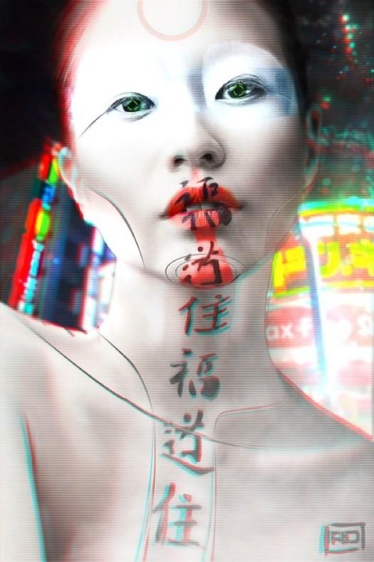 Remi delabaudiere remi delabaudiere cyborg geisha 3d couleurs