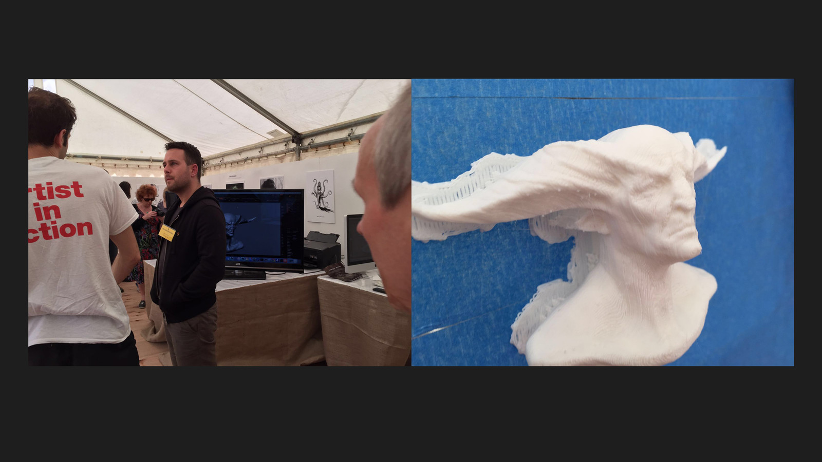 Klaus doing a quick sculpt , that got printed on the fly.