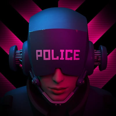 Iain gillespie cyberpunk helmet police 4