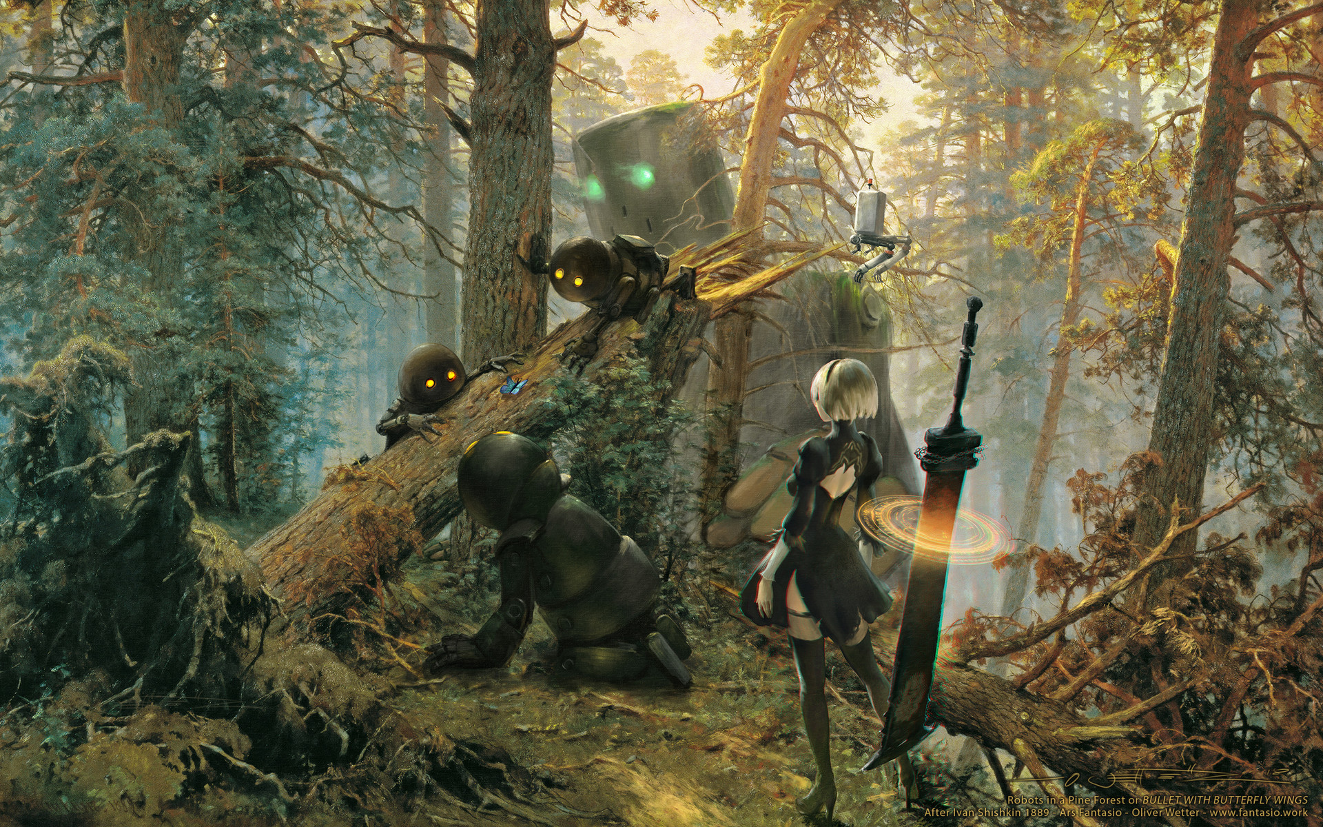 Oliver wetter wallpaper of robots in pine forest after shishkin ars fantasio 2018