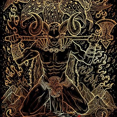 Vera petruk samiramay 01 zodiac sign aries or ram on black texture background hand drawn fantasy graphic illustration in frame