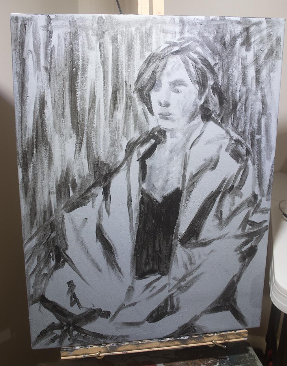 preliminary acrylic sketch