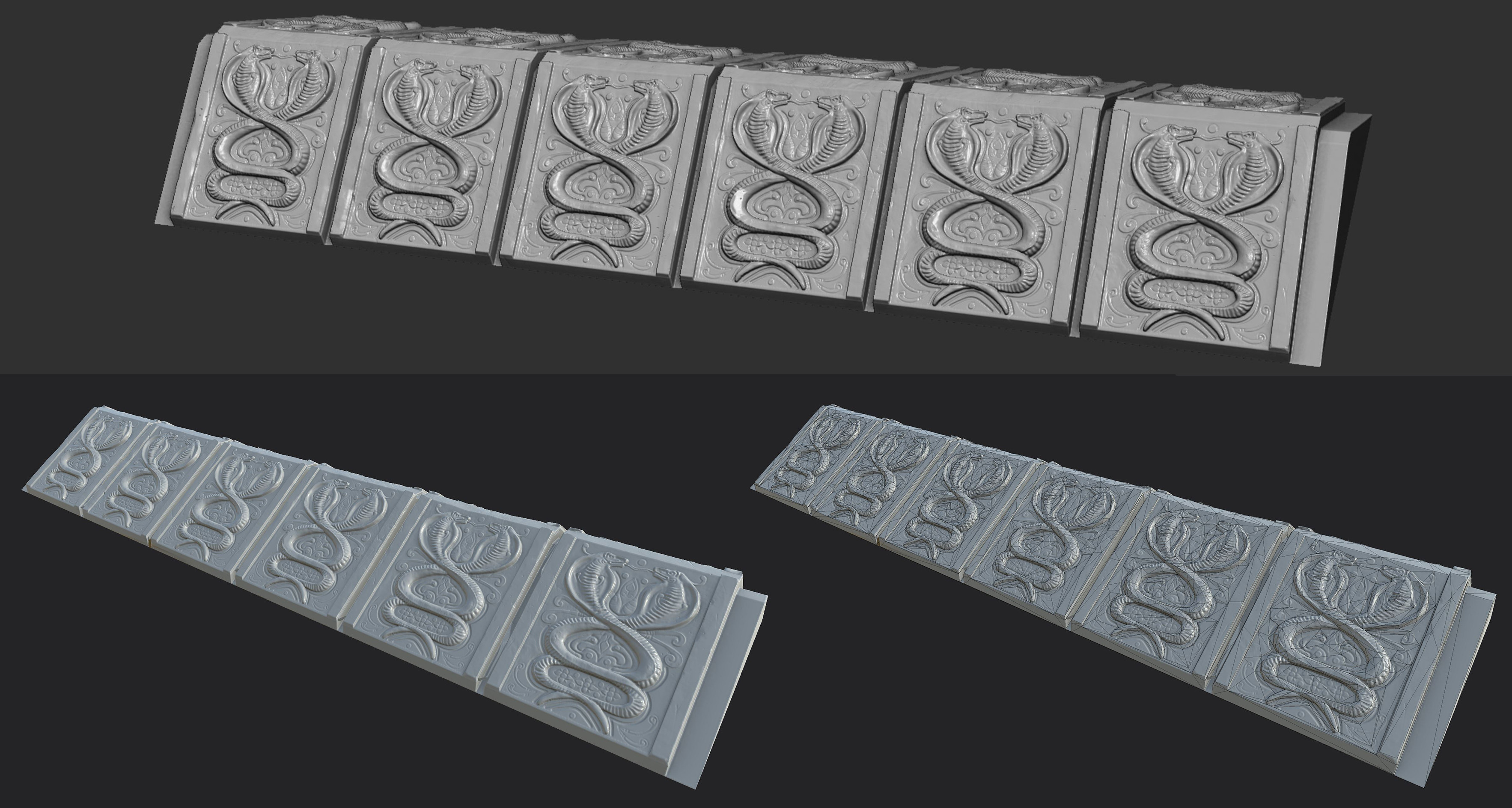 Zbrush model on top, low poly bake and wire-frame on bottom