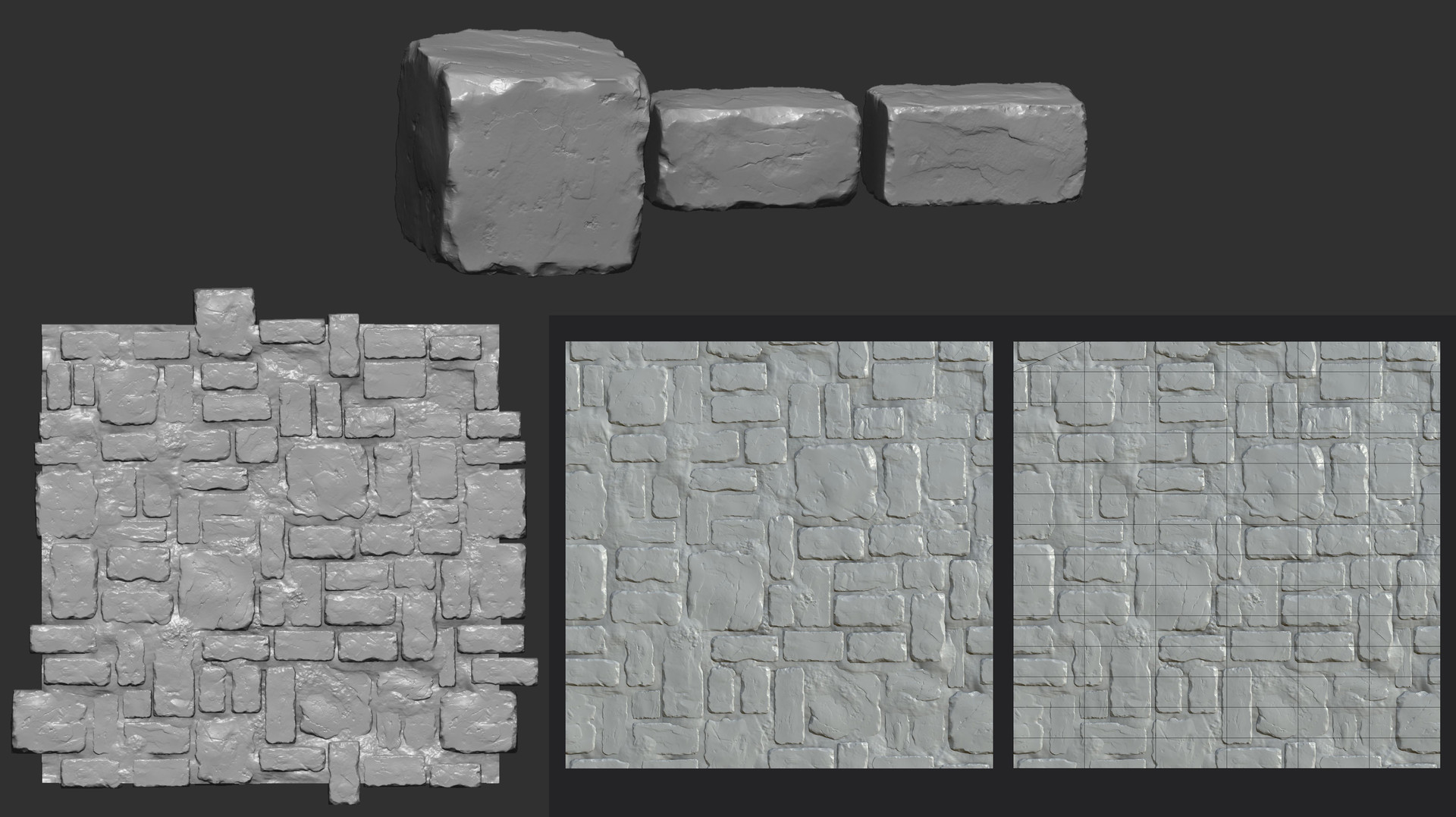 Zbrush model on top and left side, low poly bake and wire-frame on right side