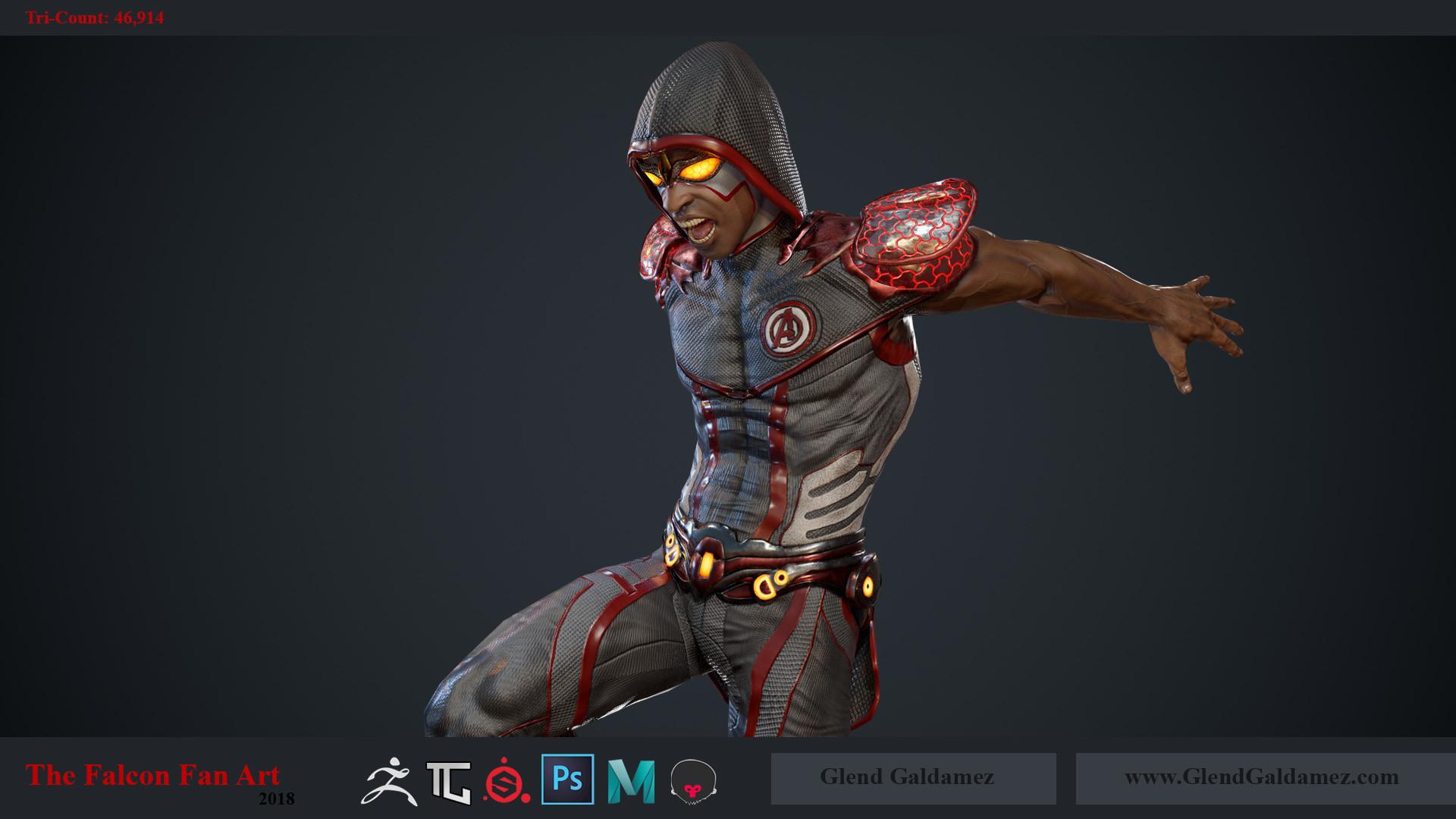 Glend Galdamez - The Falcon (Fan Art) - Game Ready Character